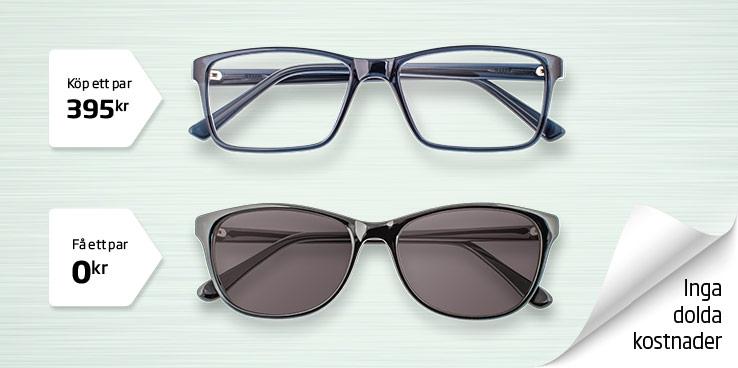 Köp två par glasögon eller solglasögon, betala bara för ett - inga dolda avgifter